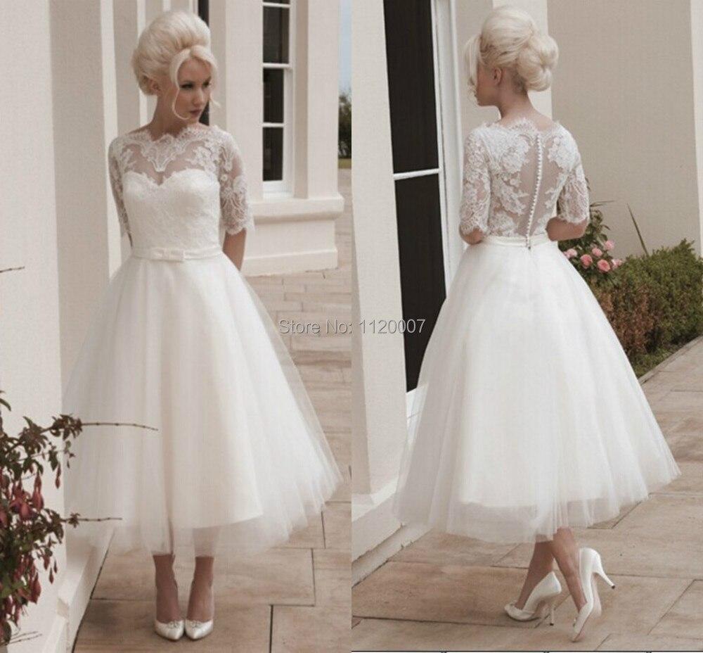 Country style vestido de noiva casamento lace tea length for Vintage t length wedding dresses