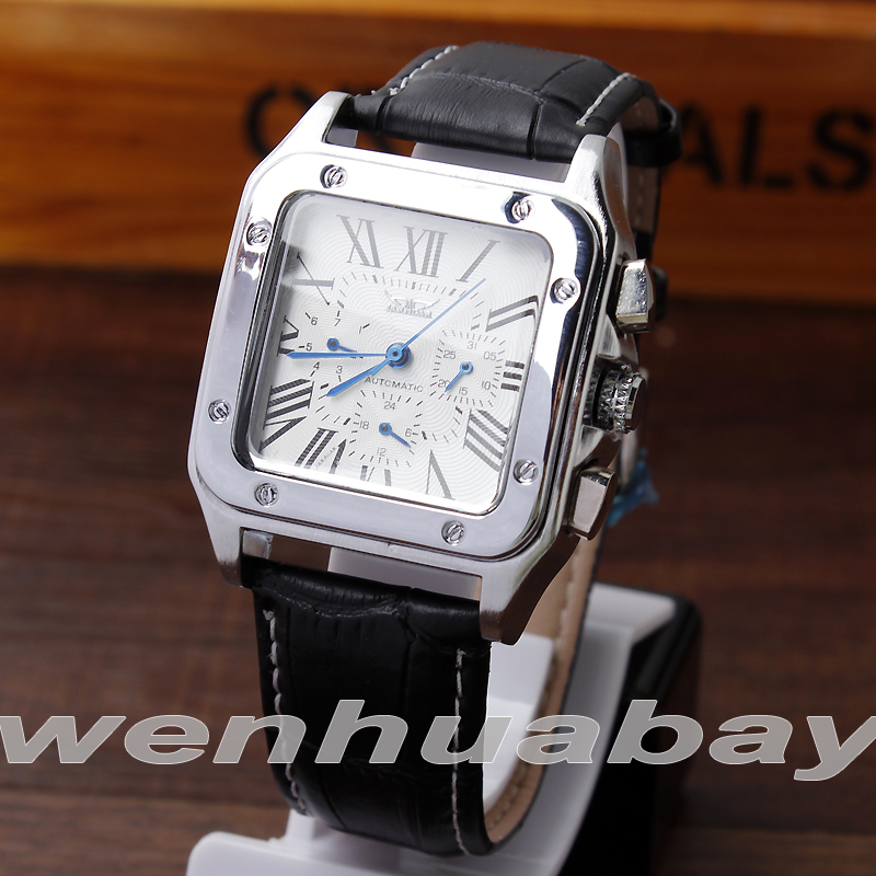 Mens Fashion Automatic Mechanical Self-Winding Calendar Display Roman Numbers Dial Analog Black Leather Strap Wrist Watch Gifts
