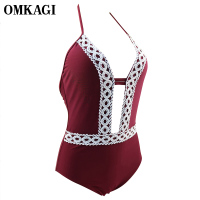 OMKAGI Brand Lace One Piece Swimsuit Sexy Push Up Bodysuit Newest Swimming Bathing Suit Beachwear Monokini