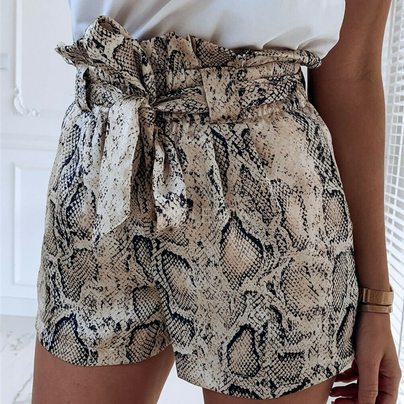 Summer Animal Snake Print High Waist   Shorts   Women Casual Loose   Short   Biker   Shorts   Mujer Beach Party Clubwear