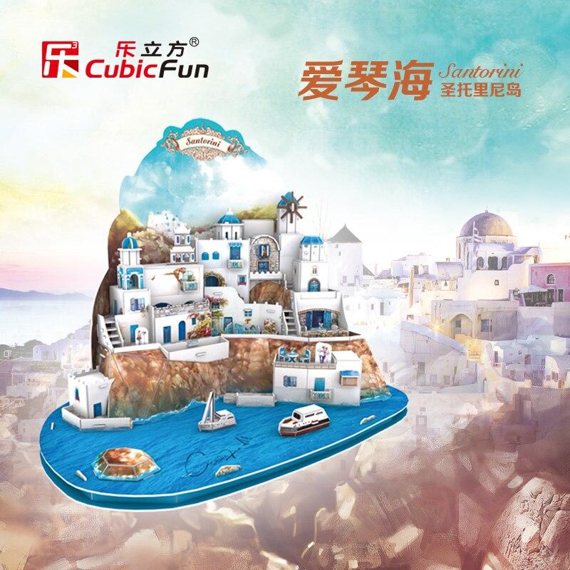 Cubicfun 3D papier modèle bricolage jouet anniversaire cadeau puzzle grèce egée vacances santorin île MC195H 1 set maison bord de mer montagne