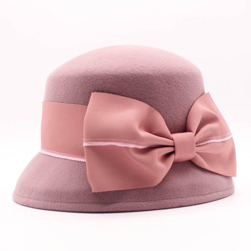 26765b738ed QPALCR Brand Quality Elegant Female Hats Wool Felt Brim Fold Bucket Fedoras  Women Vintage Bow tie