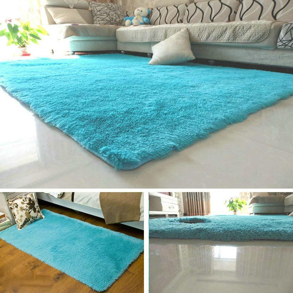 Fluffy Rugs Anti Skiding Shaggy Area Rug Dining Rooms Carpet Floor Mats Blue