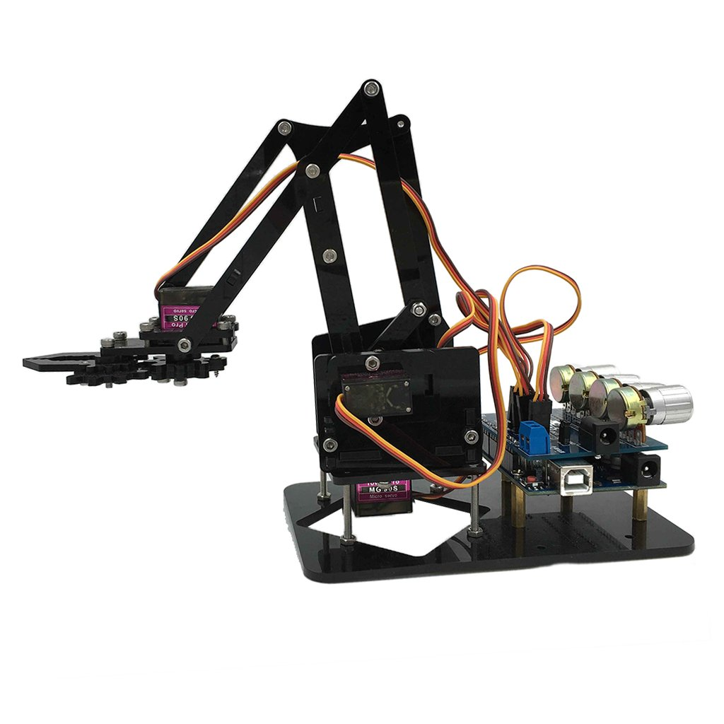 DIY Assembly 4 Axis Servo 4DOF Mechanical Robot Arm Manipulator Kit Arduino Science Learning Educational Toys
