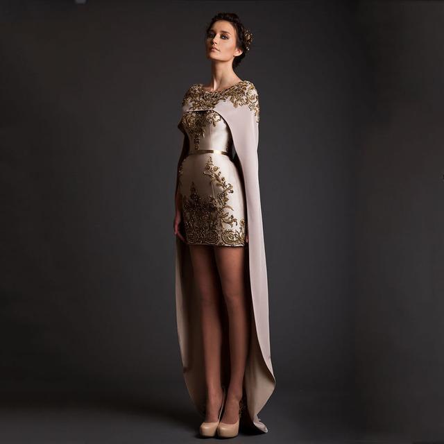 Nuevo Diseño KK Halter Appliqued Vestidos Cortos con Vestido Largo