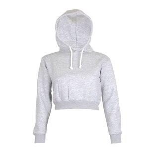 Хит продаж женский свитер однотонные Короткие топы женские простые и похмелье с капюшоном с длинными рукавами модные толстовки