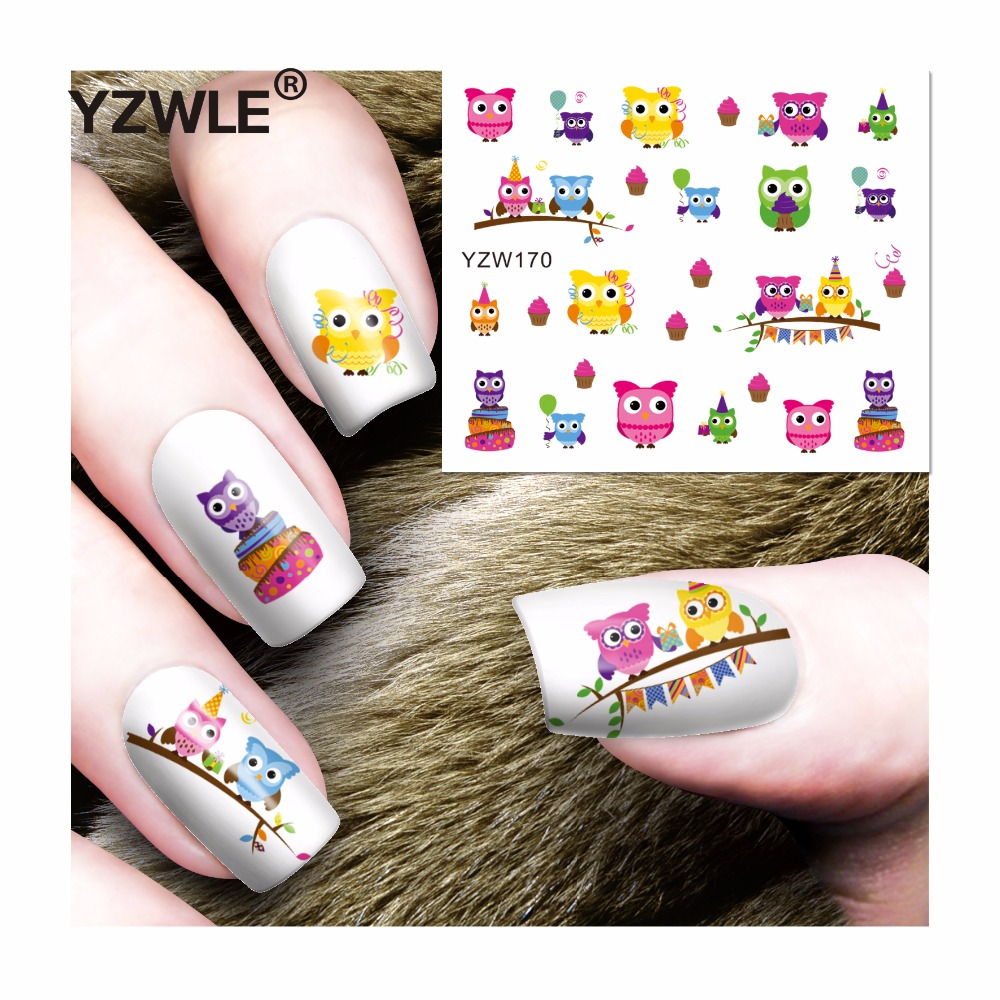 YZWLE 1 Sheet DIY Decals Nails Art Water Transfer Printing Stickers Accessories For Manicure Salon (YZW-170) yzwle 1 sheet diy designer water transfer nails art sticker nail water decals nail stickers accessories yzw 8565