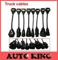 Envío libre del sistema completo 8 unids ds CDP camiones cables funciona EN vd WO-W CDP multidiag pro herramienta de diagnóstico de TCS truck cable en stock