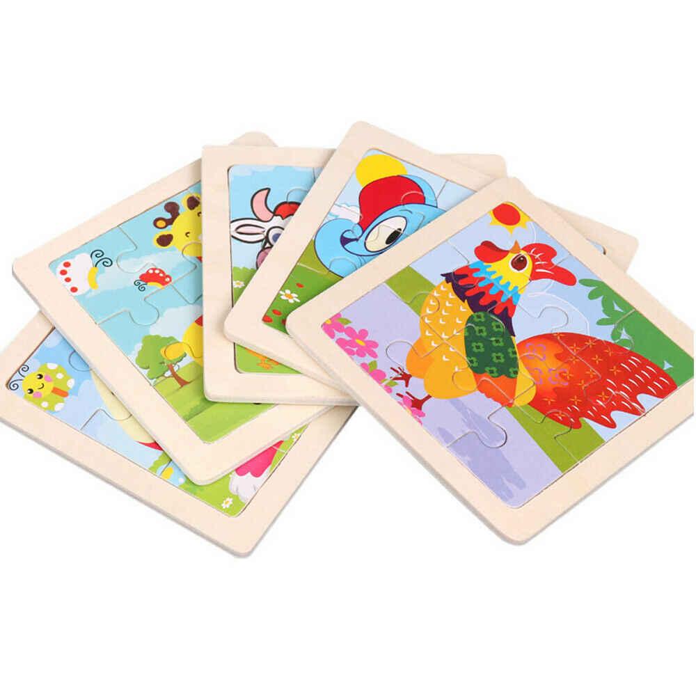 Heißer Verkauf 9 stücke Von Holz Puzzle Baby Junge Kinder Frühe Lektionen Gelernt Intelligenz Cartoon Tier Puzzle Holz Spielzeug