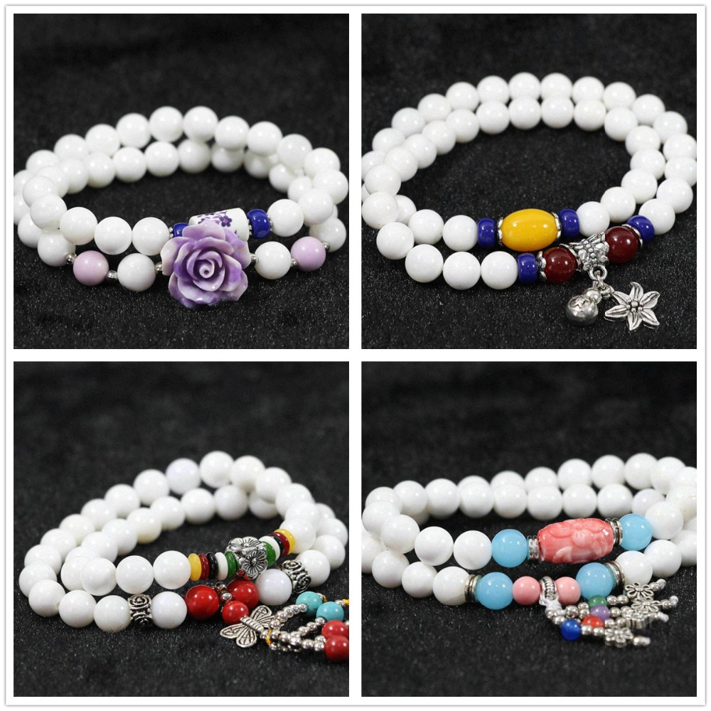 Newly white shell 8mm round 36 beads with colorful pendant douple layers women hot bracelet B973