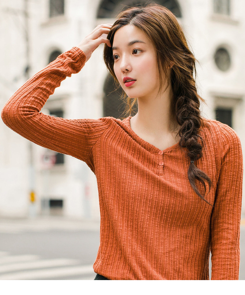 INMAN 19 Autumn Winter Korean Style Solid Color V Neck Striped Tee Shirt Femme Fashion Women Ladies Long Sleeve Plain T Shirt 13