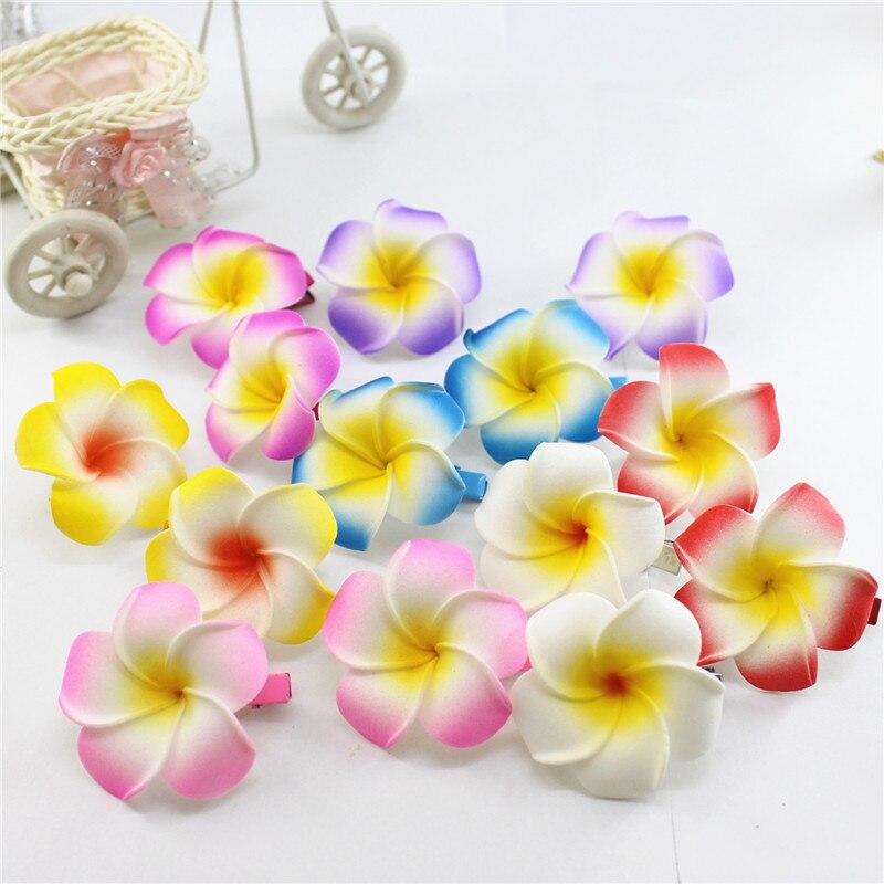 2019 New Brand 20 assorted color Foam Hawaiian Plumeria flower Frangipani Flower bridal hair clip 4.5cm