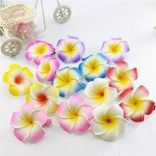 2019 New Brand 20 assorted color Foam Hawaiian Plumeria flower Frangipani Flower bridal hair clip 4.5cm convenient retractable buckle strap with clip color assorted