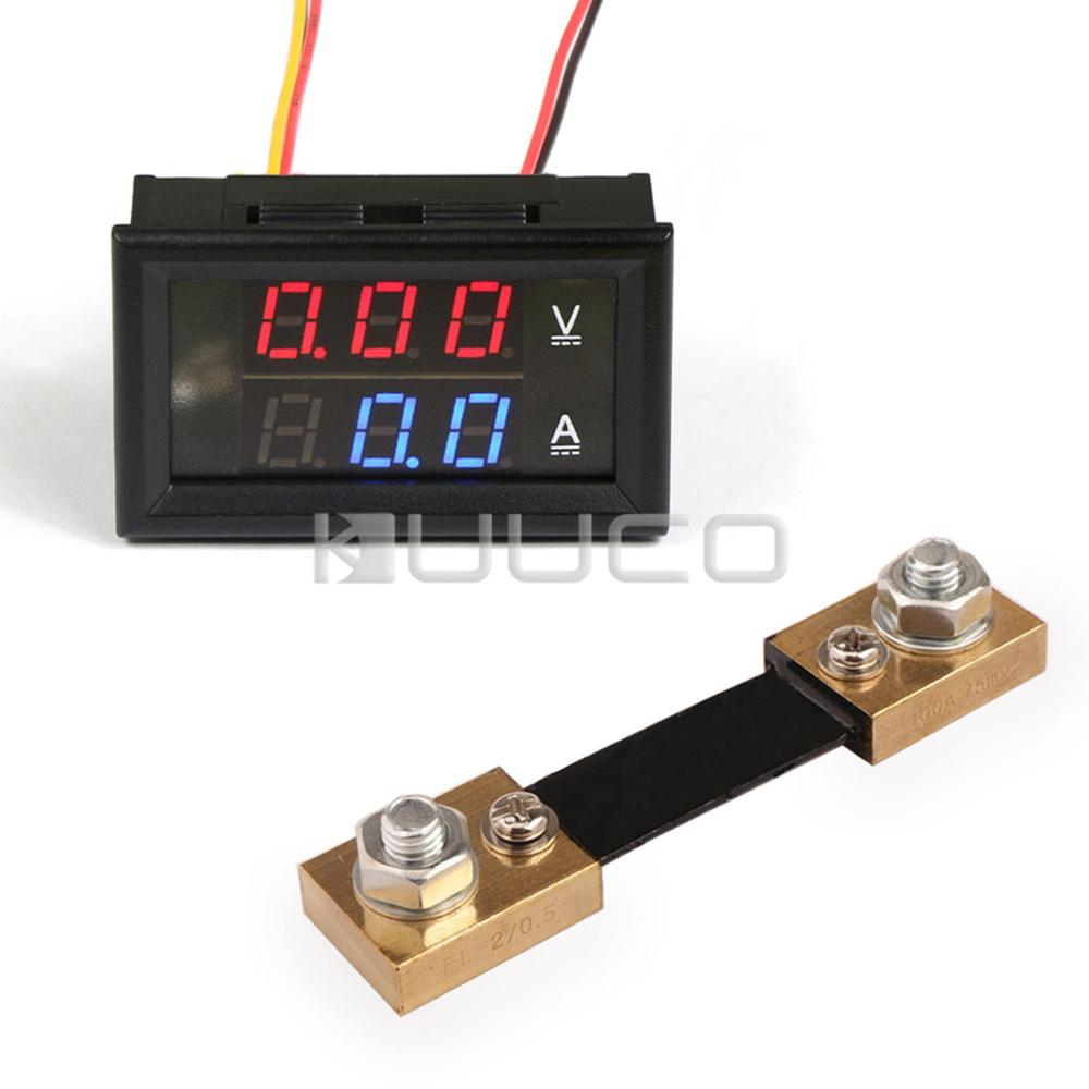 dc 6v 12v 24v digital tester 2in1 dual display voltmeter ammeter dc 0 100v 100a red led volt. Black Bedroom Furniture Sets. Home Design Ideas