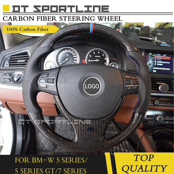 Carbon Fiber & Leather Steering Wheel for BMW 5 series F10 F07 no shift paddles