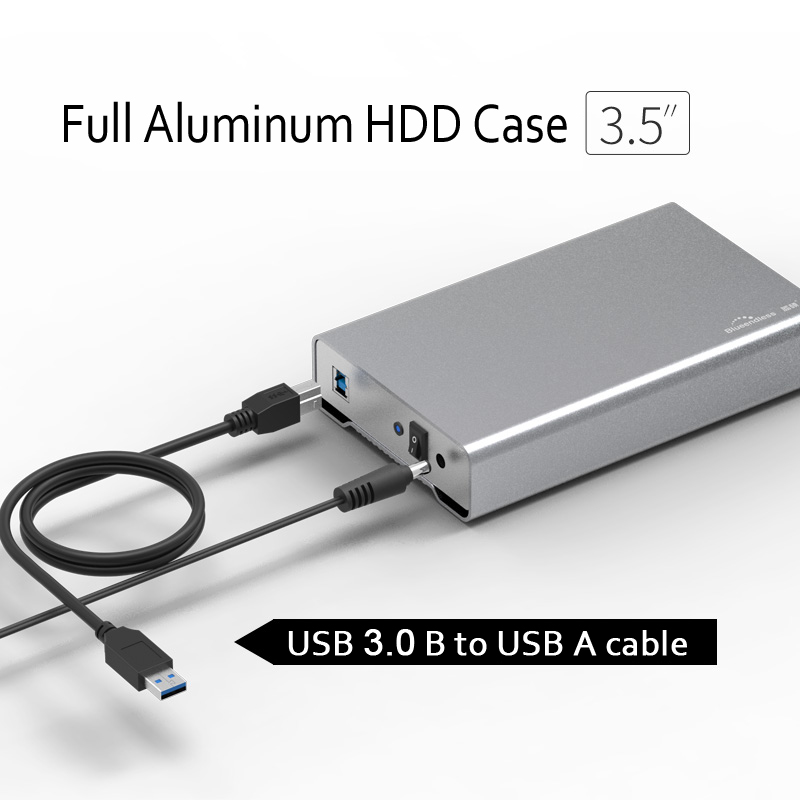 Full Aluminum Alloy 3.5 Inch Hdd Enclosure Type C 3.0 / USB A Sata Usb 3.0 Hard Disk Caddy For 7.9mm 9.5mm 12.5mm Thickness Ssd