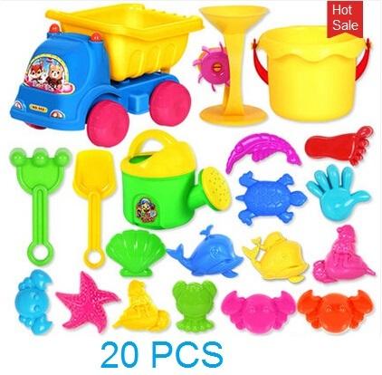 Caliente venta 20 unids juguete de baño playa de arena herramienta Hourglass herramientas arena playa niños juguete niños determinados pala Outdoor Fun Toy cubo sellado coche