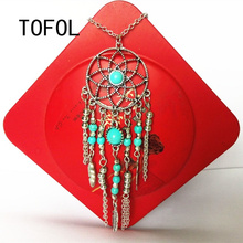 TOFOL Necklace Long Women Sweater Chain Blue Necklaces Female Retro Feather Alloy Jewelry