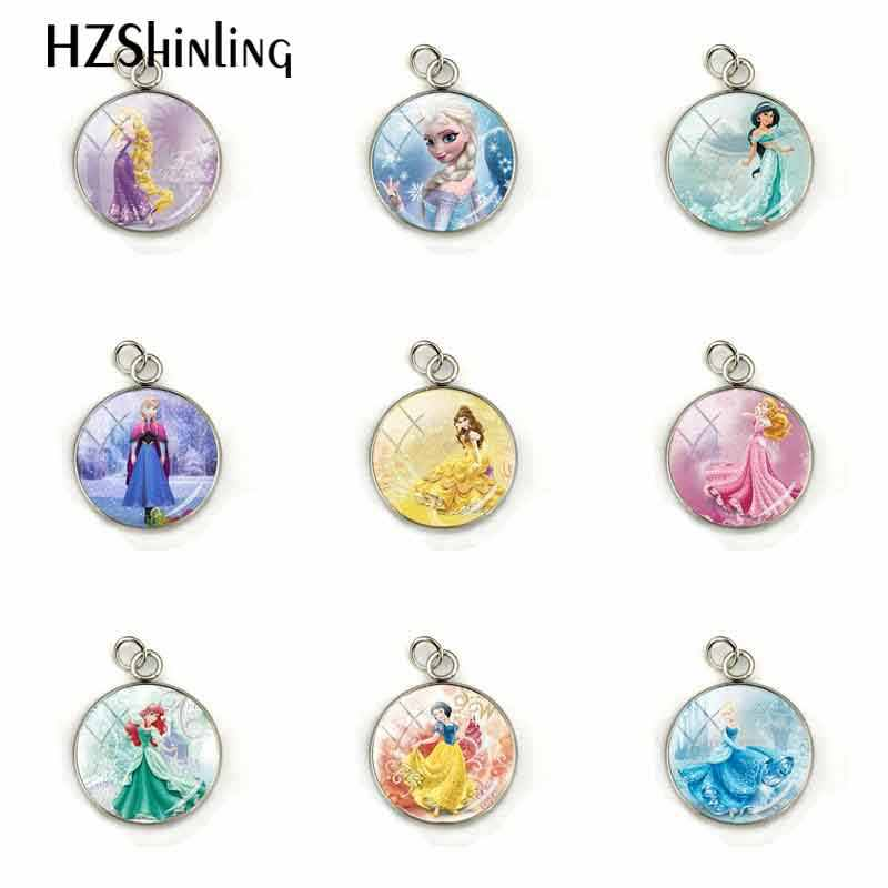New Arrival Fashion Fairy Tale Lovely Princess Pendant Princess Elsa Snow Queen Stainless Steel Plated Charm Jewelry