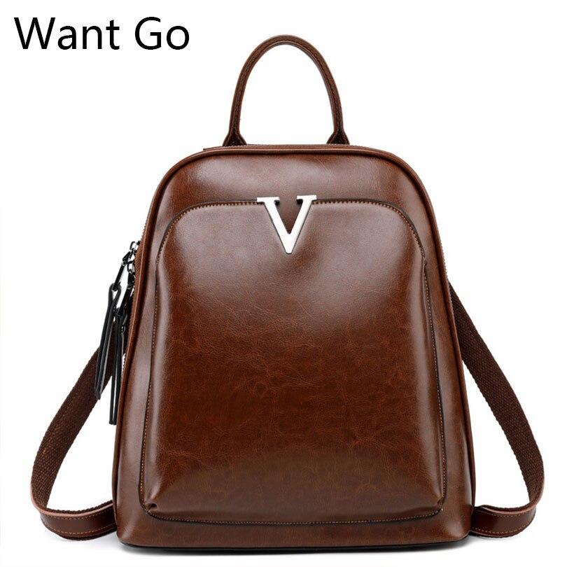 Want Go Split cuir femmes sac à dos Top qualité en cuir souple sac à dos solide couleur filles sac d'école décontracté femme sacs à dos