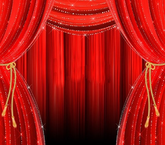 Red Curtains Stage Theater Gold Drapes Overlays backdrop High quality Computer print party background