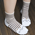 3D Мультфильм Cat Отпечатано Женщины Носки Многоцветный Полосатый Хлопок Смешные Носки 2017 Ladies Девушки Средний-Икра Повседневная Мягкие Гетры Femme
