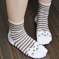 Dos desenhos animados 3d cat impresso mulheres multicolor meias de algodão listrado meias engraçadas 2017 senhoras meninas mid-calf casual macio chaussette femme