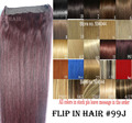 "16""-32"" 100% Brazilian Remy Hair Flip In/on Human Hair Extensions Halo hair #99j 80g-220g 1pcs Set"