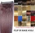 """16 """"-32"""" 100% Cabelo Remy Brasileiro Flip Em/sobre Extensões de cabelo Auréola Cabelo Humano # 99j 80g-220g 1 pcs Set"""