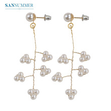 Sansummer 2019 New Hot Fashion Pearl Exaggerated Geometric Element Boho Golden Earrings Woman Jewelry 431