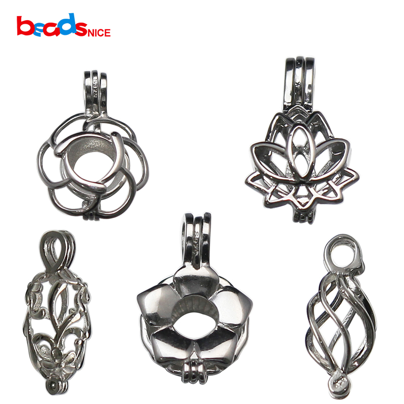 Beadsnice 925 Silver Pearl Cage Silver Lotus Flower Charm Holds A Pearl Bead Gem  Silver Necklace Making For Her ID 35918