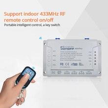 Sonoff 4CH Pro R2 4 канала банды RF 433 МГц пульт дистанционного управления беспроводной Wifi умный переключатель инчинг интерлок реле Alexa совместимый