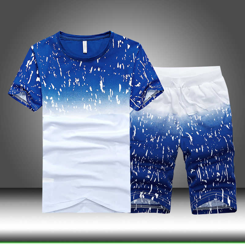 Летний комплект для мужчин 2019, повседневный тонкий спортивный костюм, мужская спортивная одежда, комплект из 2 предметов: футболки + шорты, с круглым вырезом, с принтом, Лоскутная мужская одежда