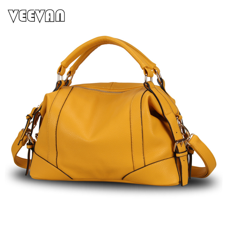 2017 VEEVANV Trend Boston Women Handbag 6 color Leather Ladies Tote Bag Casual S