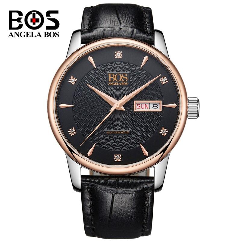 Relogio Masculino ANGELA BOS Luxury Brand Week Date Automatic Watch Men's Fashion Business Mechanical Wristwatch Clock Man Dress