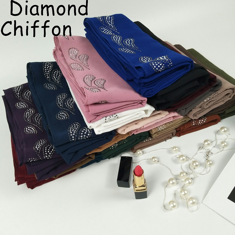M2 High quality diamond bubble chiffon hijab wrap shawls lady scarf scarves headband 180 75cm 10pcs