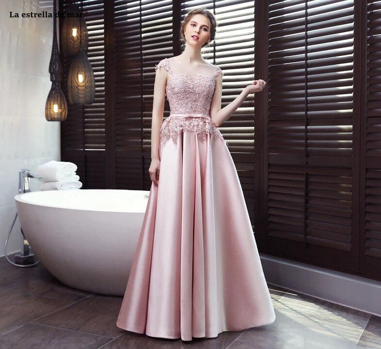 Elegant vestido de madrinha de casamento2019 new lace satin hat sleeves open A line pink   bridesmaid     dress   long robe mariage