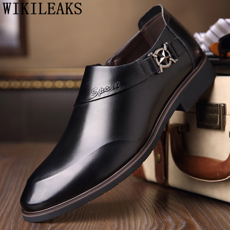 formal shoes mens genuine leather dress shoes men classic coiffeur loafers men pointed toe shoes chaussure homme erkek ayakkabi
