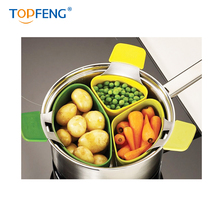 TOPFENG Silicone Steamer Basket Steam Cooker Instant Pot For Cooking Vegetable Multifunction Kitchen Accessories 3pcs/set