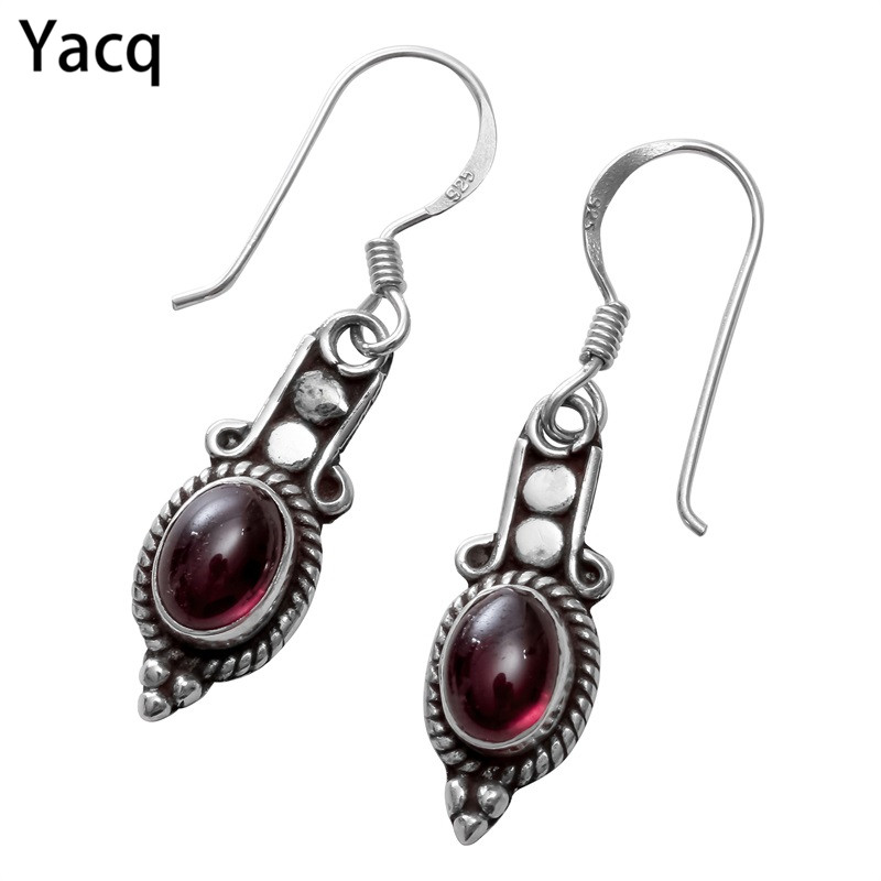 YACQ 925 Sterling Silver Garnet Dangle Drop Earrings