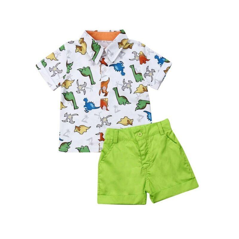 1-5Years 2Pcs Toddler Dinosaur Clothes Kid Boy Summer T-shirt Top+Short Pant Baby Boy Outfit Set 2019 New Hot(China)