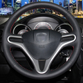 Hand-stitched Black Leather Steering Wheel Cover for Honda Fit City