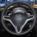 Mão-costurado Couro Preto Cobertura de Volante para Honda Fit Cidade