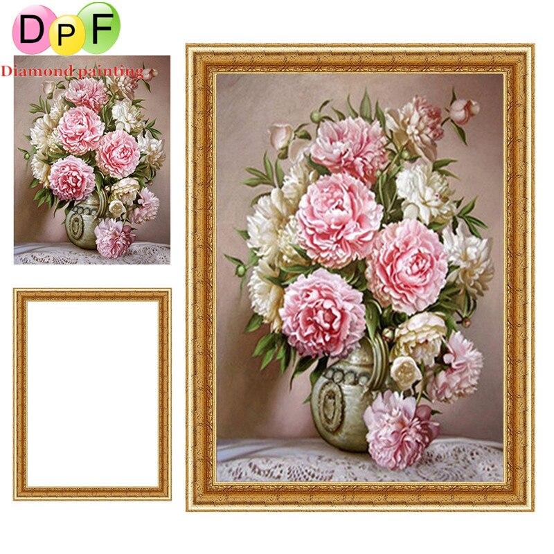 Dpf Peony Vases Framed Diamond Embroidery Round Diamond Painting