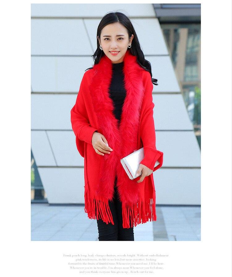 Faux Fur Collar Shawl Cardigan Tassel Winter Warm Coat 32