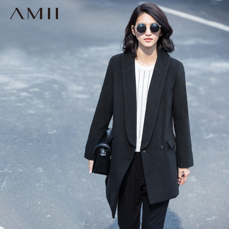 Amii Casual Women Woolen Coat 2018 Winter Covered Button Turn-down Collar Pocket Solid Female Wool Blends