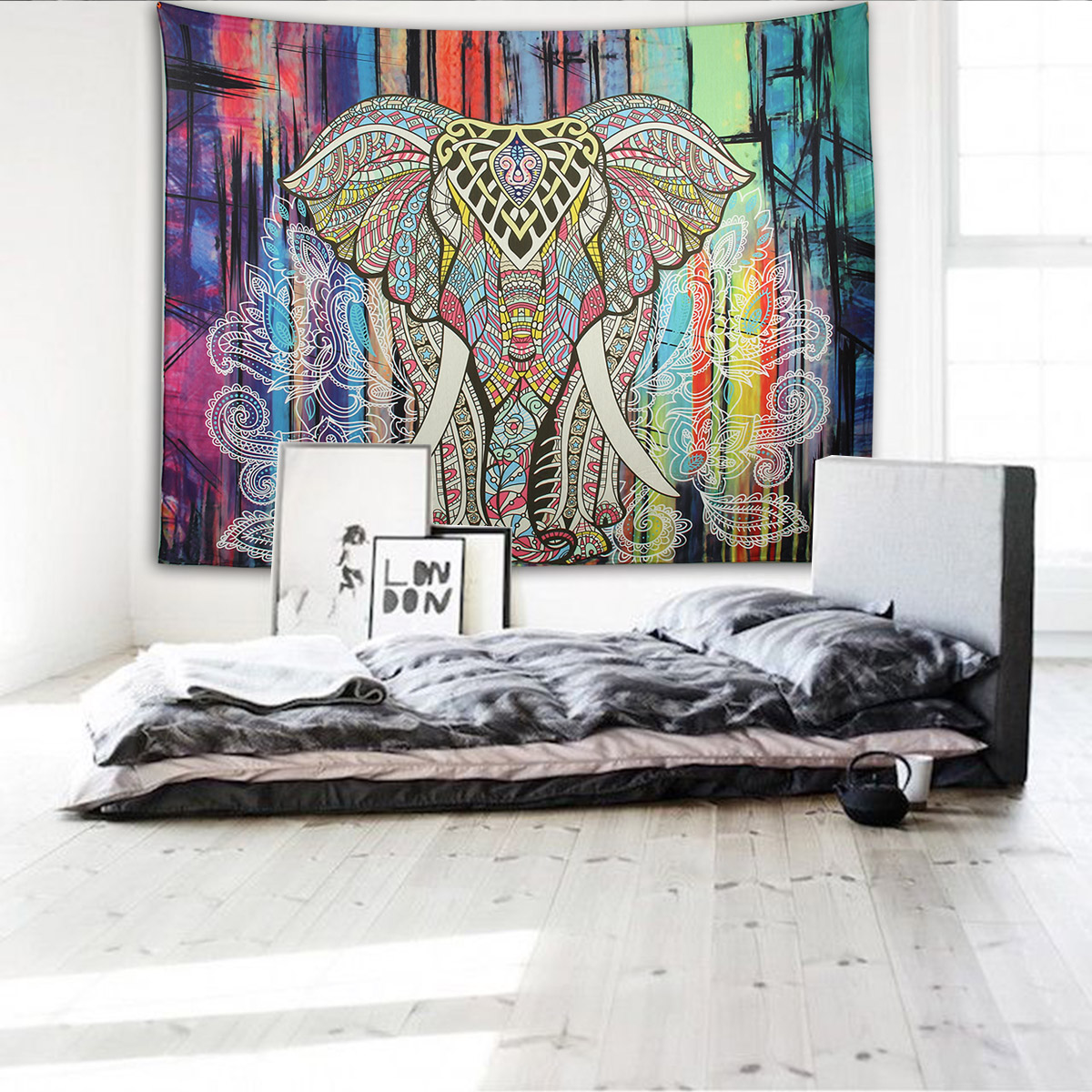 Elephant Mandala Tapestry Throw Towel Hippie Tapestry Floral Printed Home Decor Wall Tapestries Bedspread 210*150CM 13