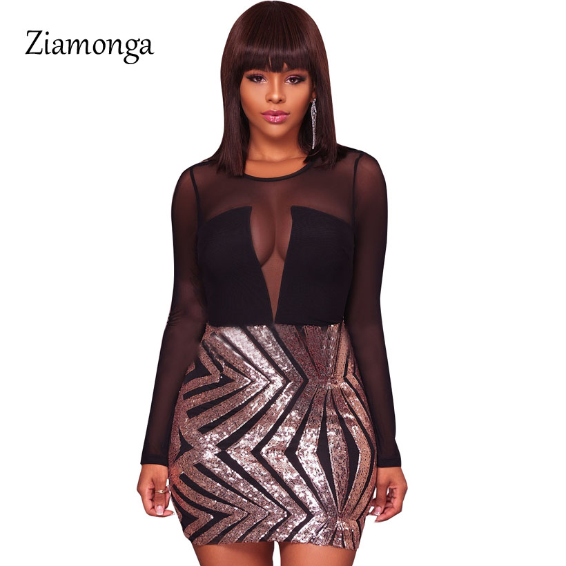Ziamonga Bodycon Dresses Autumn Women 2018 Sexy Long Sleeve Mesh Shadow  Sequin Mesh Bandage Dress Party Night Vestido Curto acd694e50d38