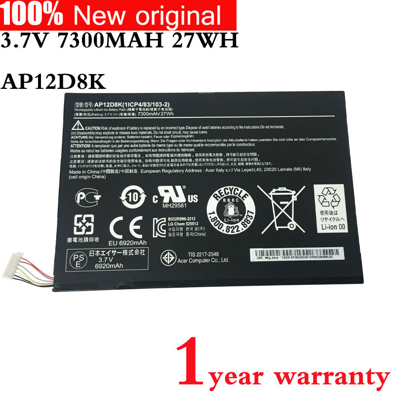 NEW Original tablet Battery for ACER Iconia Tab A3-A10 P3-171 W510 W510P AP12D8K 1ICP4/83/103-2 3.7V 7300MAH 27WH