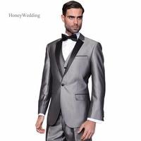 Hot Sale Customized Grey wedding tuxedos Black Lapel Jacket+Pants +Vest mens tuxedos Groom Suits Best men suits Free shipping